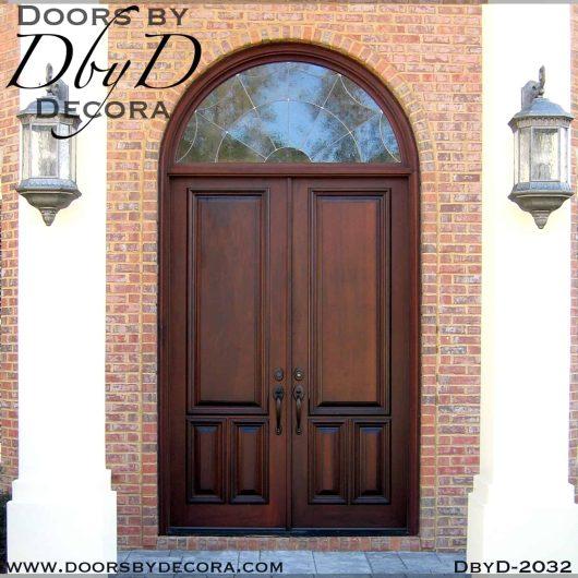 leaded glass double doors radius transom