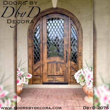 leaded glass rustic door and sidelites