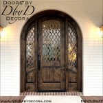 leaded glass rustic exterior entry