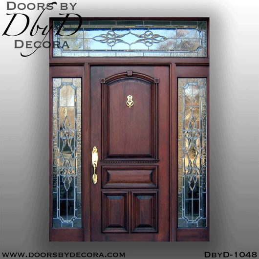 solid mahogany door with leaded glass