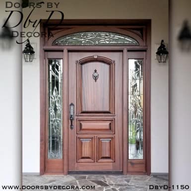 solid door with leaded glass entry