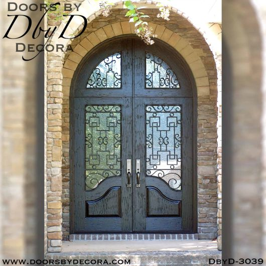 iron grill rustic doors