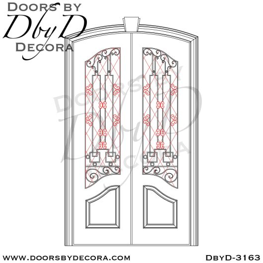 iron grill leaded glass doors