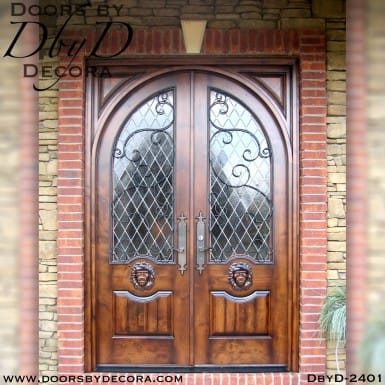 leaded glass lion doors