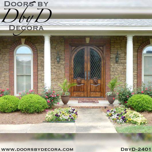 leaded glass lion doors