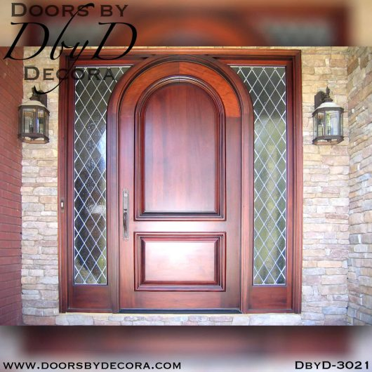 leaded glass solid door