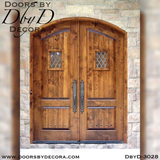 leaded glass double speakeasy doors