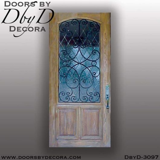 leaded glass door with iron