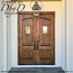 leaded glass arched panel double doors