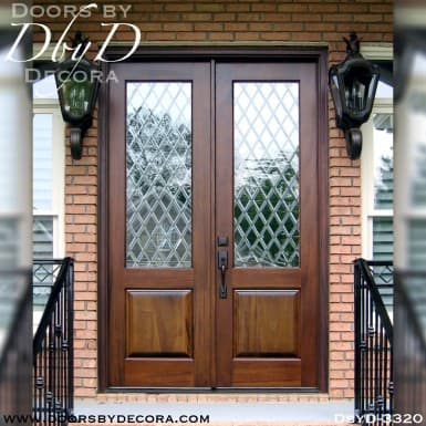 leaded glass double doors with glass