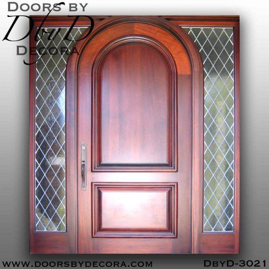 solid door leaded glass sidelites