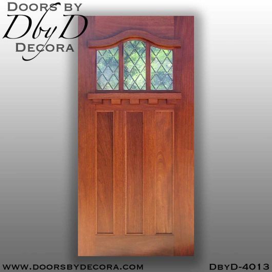 divided lite 3-lite door with leaded glass
