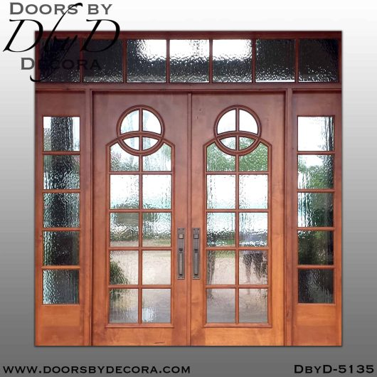 divided lite double doors with sidelites and transom
