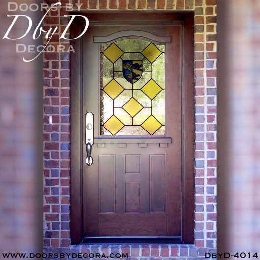 leaded glass door with old world glass