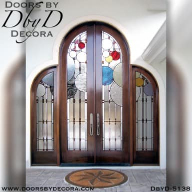 leaded glass grand front entrance