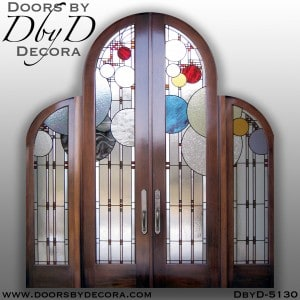 leaded glass grand front entrance custom doors