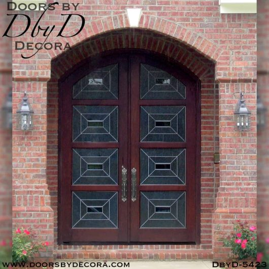 leaded glass contemporary double doors