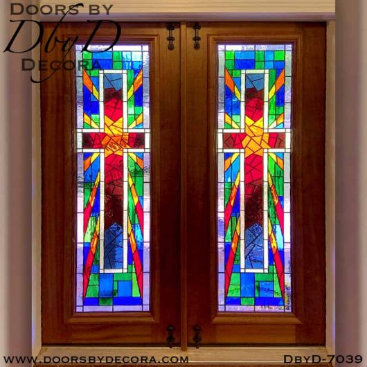 church doors with stained glass