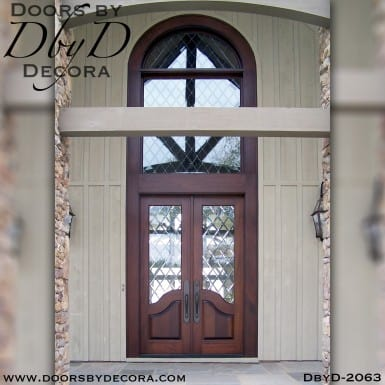 leaded glass double glass doors