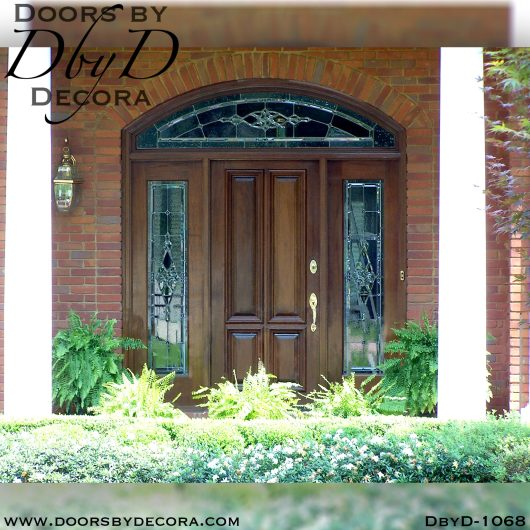 leaded glass entry with solid door