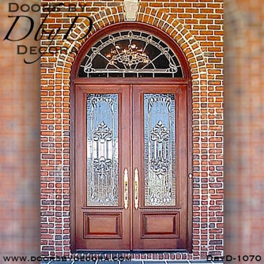 leaded glass doors and radius transom
