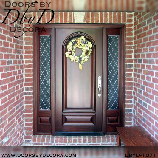 leaded glass solid door and sidelites