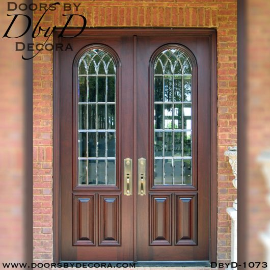 leaded glass double doors with bevels