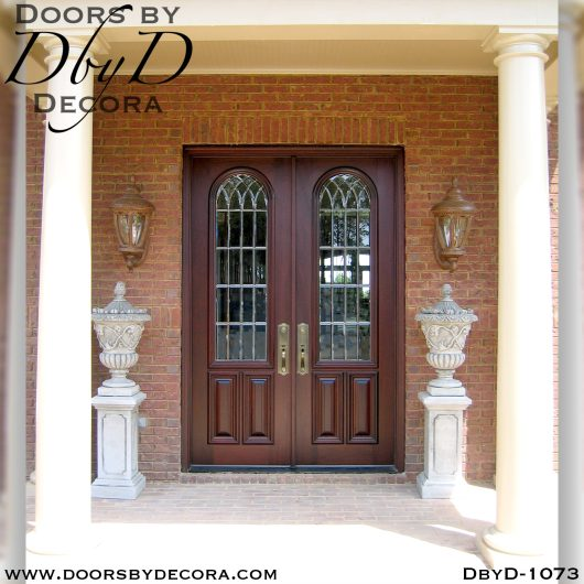 leaded glass1073a - leaded glass double doors with bevels - Doors by Decora