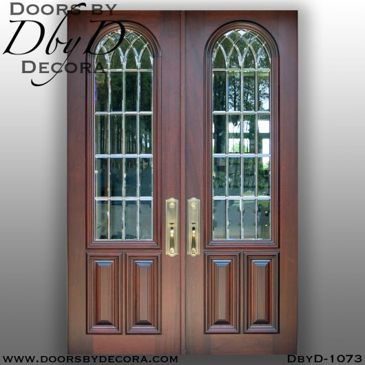leaded glass1073b - leaded glass double doors with bevels - Doors by Decora