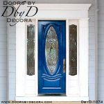 leaded glass painted oval door