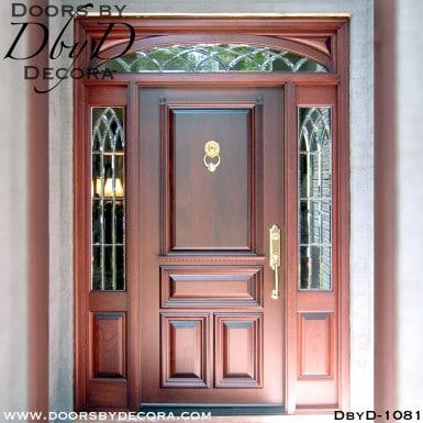 leaded glass sidelites with solid door