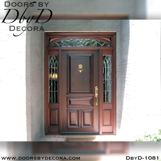 leaded glass1081a - leaded glass sidelites with solid door - Doors by Decora