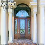 leaded glass door and radius transom