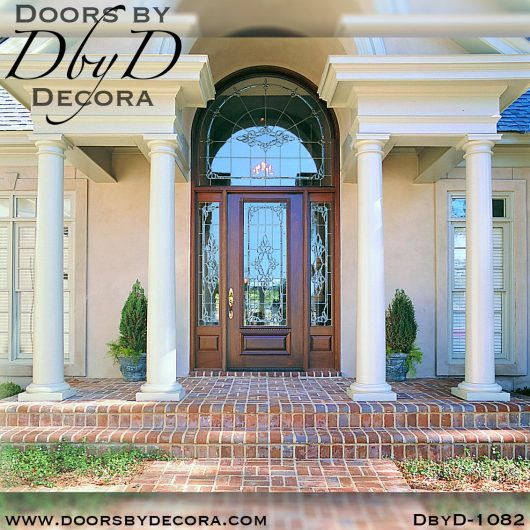 leaded glass1082a - leaded glass door and radius transom - Doors by Decora