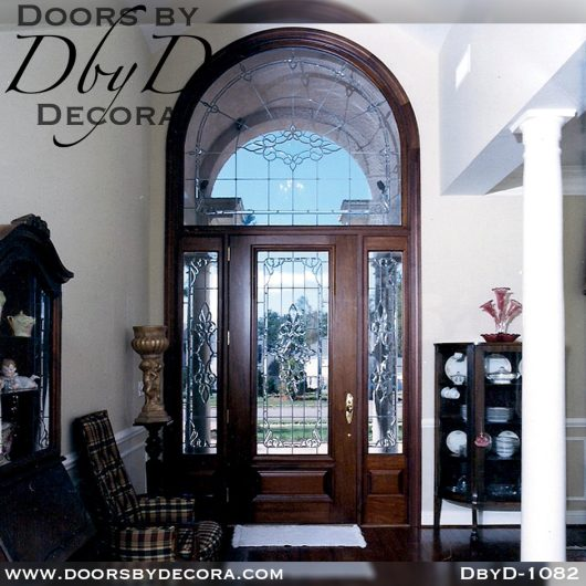 leaded glass1082b - leaded glass door and radius transom - Doors by Decora