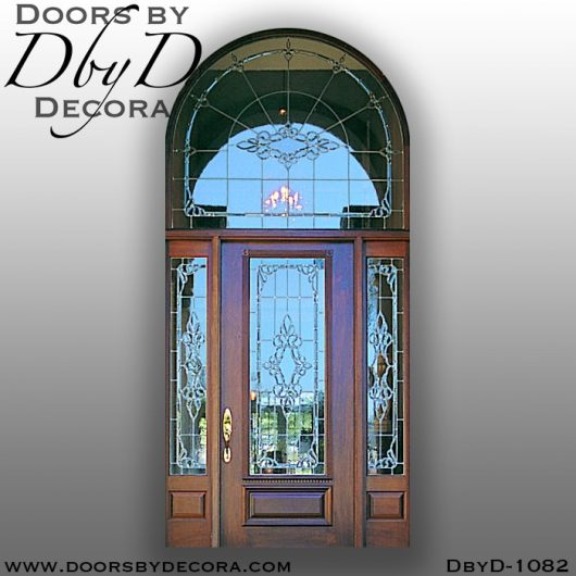 leaded glass1082c - leaded glass door and radius transom - Doors by Decora