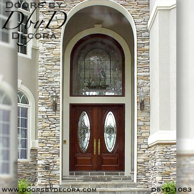 leaded glass doors with heron
