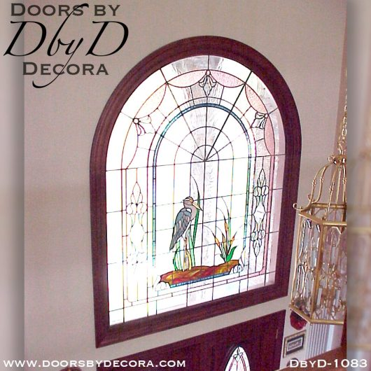 leaded glass doors with heron