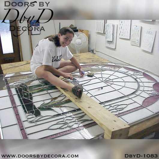 leaded glass1083c - leaded glass doors with heron - Doors by Decora