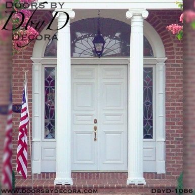leaded glass colonial double doors