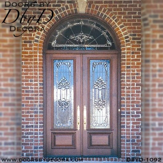 estate leaded glass double door entry