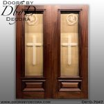 church frosted glass double doors