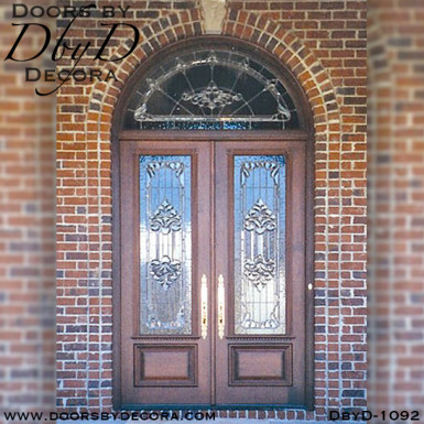 leaded glass double doors entry