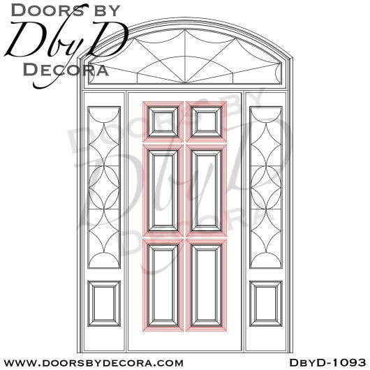 leaded glass solid door sidelites and transom
