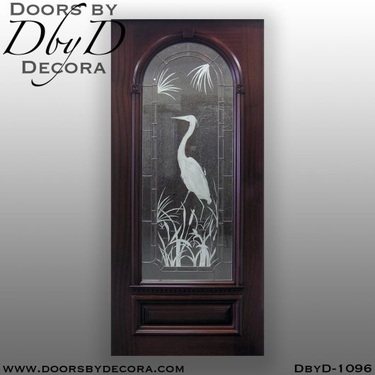 leaded glass etched glass door