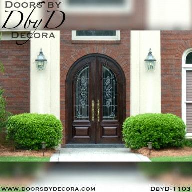 leaded glass radius double doors