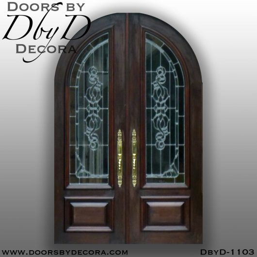 leaded glass radius double doors
