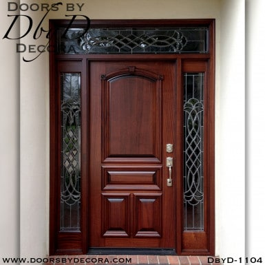 leaded glass wood and glass entry