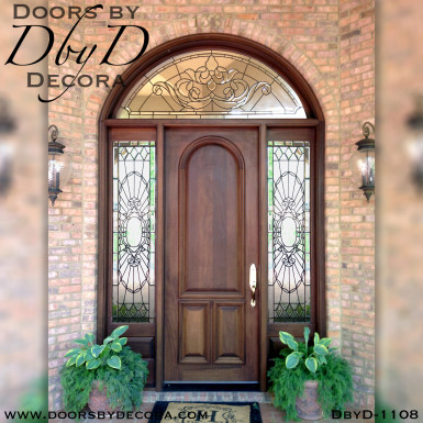leaded glass wood front door