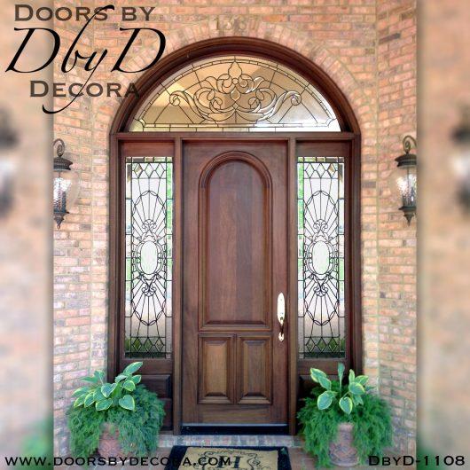leaded glass wood front door